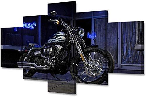 Hang-Dressers Leinwand Bilder Moderne Wandkunst Leinwand mit Rahmen Leinwand Harley Motorrad Poster HD-Druck Dekorative Malerei Wandbehang Malerei (Größe: A)