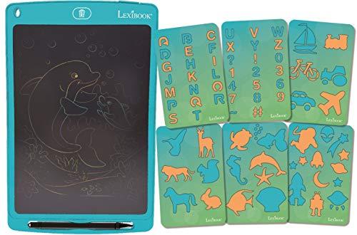 """LEXIBOOK Tableta de Dibujo Digital 10"""" (26cm), Pizarra mágica electrónica y Multicolor, Tablero de Escritura, 70 Plantillas, lápiz óptico, Juguete a Partir de 3 años (CRT10)"""