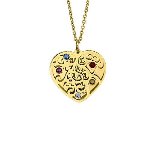 """Colgante De Corazón Familiar Hueco Personalizado con 1-6 Nombre Mujer Charm Birthstone Collar Aniversario Navidad Día De San Valentín Ideas (Oro 24"""")"""