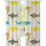 YUAZHOQI - Cortina opaca con aislamiento térmico, con cortinas de ballena para dormitorio de niñas de 132 x 274 cm, diseño de tortuga de tiburón, estilo doodle, vida marina