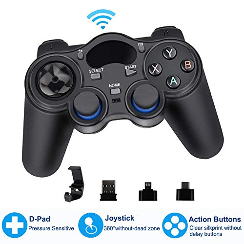 Mando de Juego 2,4G, Mando Inalámbrico PS3 Joystick inalámbrico Android con conversor OTG Mandos PS3 Gamepad, para PS3/Smart Phone para Tablet PC Dispositivo de TV Inteligente