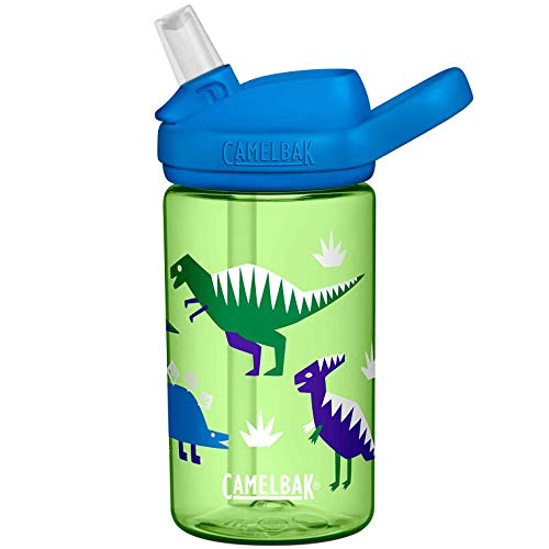 CAMELBAK Eddy+ Kids Bottle - Cool Dinosaurs, 400ml / Safe to Drink BPA Free Reusable Straw Sip Cup Boy Girl Infant Children Child Water Juice Flask Eco Environmentally Friendly Plant Based Plastic