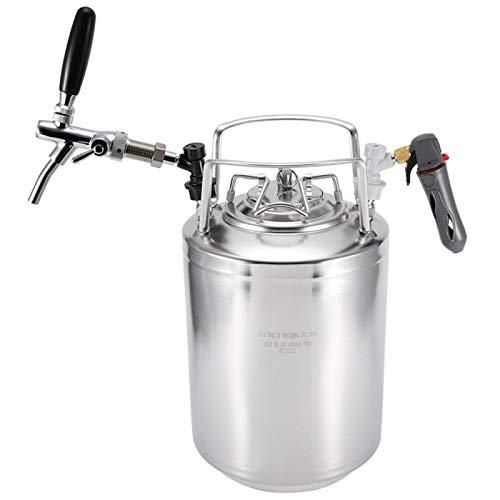Raguso Kit de Grifo de Barril de Cerveza, dispensador de Cerveza de Acero Inoxidable, Kit de dispensación de Cerveza Duradero para Barril de Cerveza para el hogar(10L)