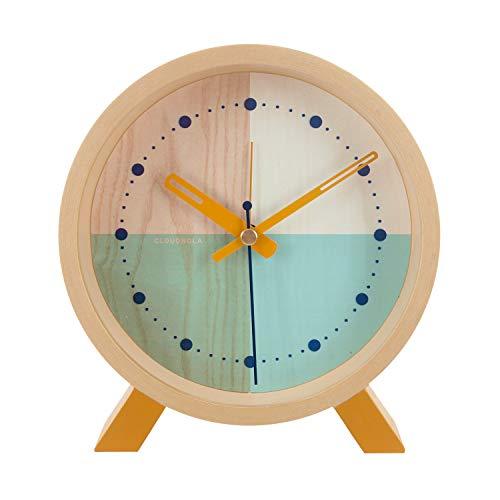 Cloudnola Flor Wecker und Standuhr aus Holz - Türkis - Deko Wecker, 31 cm Durchmesser, Batteriebetriebenes Quarz Uhrwerk, Lautlos - Designer Tischuhr ohne Tickgeräusche