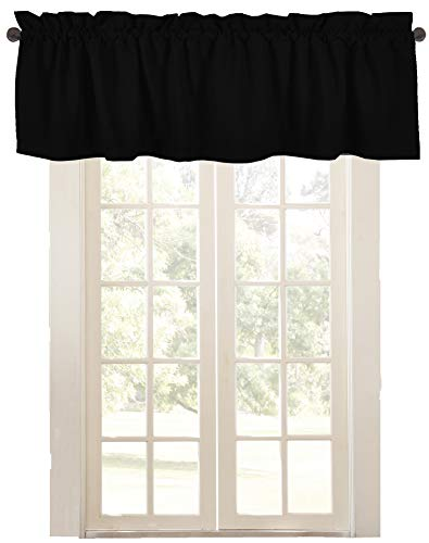 Native Fab Curtain Valance for Windows 2 Panels W 137 x H 46 cm (54'x18') 100% Cotton Half Window Curtains Window Covering Valance Curtains for Kitchen Bathroom Living Room- Set of 2 Black