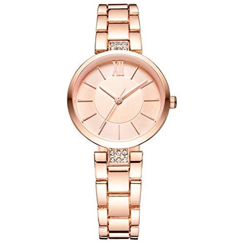 Reloj de Cuarzo para Mujer, báscula estéreo Casual Coreana, Superficie de Espejo Decorativo de Cristal de Diamante Creativo (Oro Rosa) 085 (Color : A)