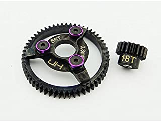 Hot Racing STE256 Steel Pinion and Spur Gear Set (18t/56t 32p)(Purple) - Traxxas