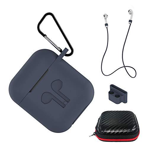 AICEK Custodia Compatiblile con AirPods 1 & 2 Cover Silicone Case per Apple AirPods Protective Accessori con Moschettone,Earpod Cover Blu Scuro