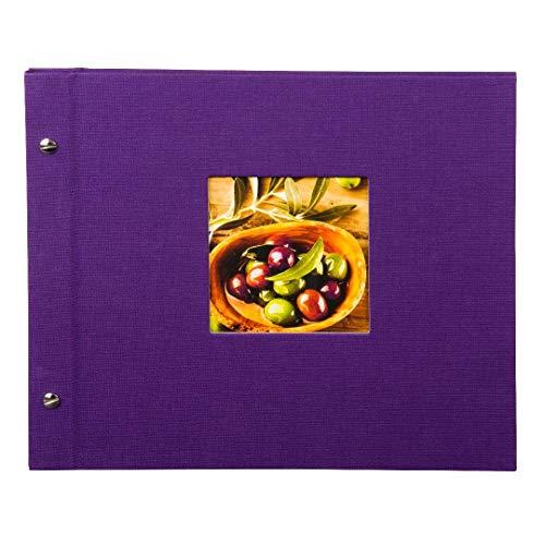 Goldbuch Schraubalbum mit Fensterausschnitt, Bella Vista, 30 x 25 cm, 40 schwarze Seiten mit Pergamin-Trennblättern, Erweiterbar, Leinen, Lila, 26974