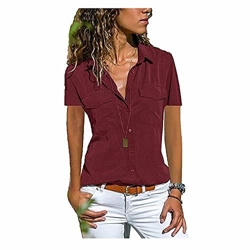 Vrouwen Plus Size Zomer Shirt Revers Korte Mouwen Kleding Shirts Blouse - rood - XXL