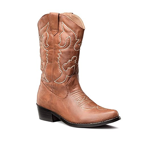 SheSole Ladies Wide Calf Cowgirl Cowboy Boots Low Heel Western Booties for Country Wedding Tan UK Size 4