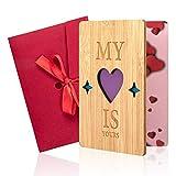 iNeego Valentinstag Karte Holz Valentinskarte Handgemachte Valentinstag Karte mit Umschlag Grußkarte für Valentinstag, Muttertag, Geburtstag, Hochzeit, Jahrestag