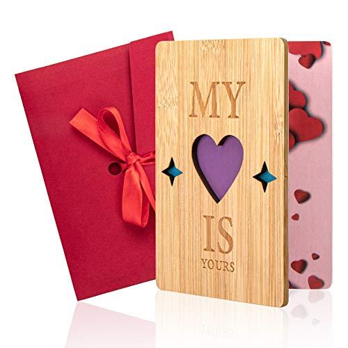 Tarjeta de amor, Gr8ware tarjeta de felicitación de amor, tarjeta de felicitación de bambú con sobres, fantásticas tarjetas de regalo para el día de San Valentín, cumpleaños, aniversarios, bodas(c)