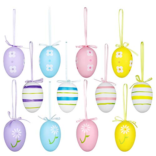 Yunfan 12Pcs Easter Decorations Eggs Hanging Ornaments Colorful for Easter Tree Basket Decor Party Favors Supplies Home