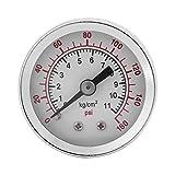 Manómetro de presión hidráulica, 0-160PSI 1 / 8NPT Manómetro de manómetro de agua, aceite, aire, medidor de presión para psi y medición de kg/cm²