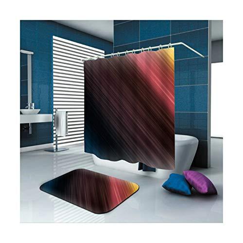 AmDxD Waschbar Polyester Duschvorhang & Badezimmer Teppich Licht Design Digitaldruck Badewannenvorhang Badezimmerteppich Bad Vorhang mit Duschvorhangringen für Badezimmer Bunt 120x180CM