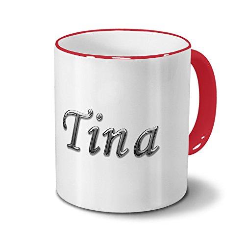 Tasse mit Namen Tina - Motiv Chrom-Schriftzug - Namenstasse, Kaffeebecher, Mug, Becher, Kaffeetasse - Farbe Rot
