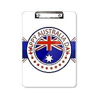 オーストラリアの建国記念日の旗のイラスト フラットヘッドフォルダーライティングパッドテストA4
