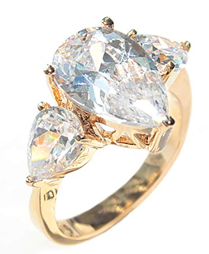 Ah! Jewellery Women's Gold Filled 18 Kt Ring. Flawless 8mm Pear Cut Simulated Diamond Centre Stone. UK Guarantee: 3µ, 4.0GR Total Weight.