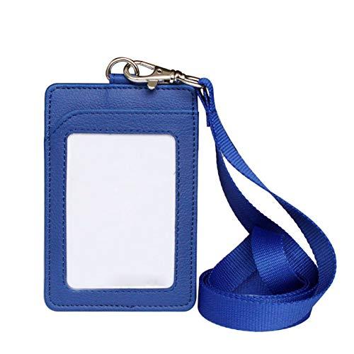 Wonque - Tarjetero de piel sintética con cordón para el cuello desmontable para tarjetas de identificación de trabajadores, 1 unidad, color azul 11.2 * 7.5CM