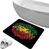 3Pcs Rutschfester Badezimmerteppich Toilettensitzdeckel-Set Rasta Soft Skidproof Badematte...