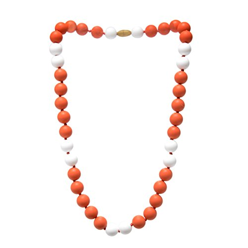Chewbeads Spirit Ncklace, 100% Safe Silicone Teething and Sensory Necklace for Babies and Toddlers (Orange & White)