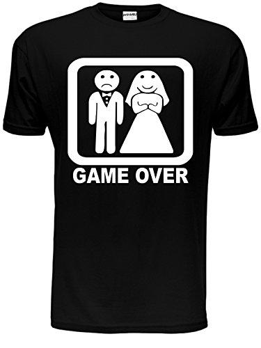 Game Over Gracioso Despedida Soltero Despedida De Soltero Boda camiseta hombre Tallas Ch-EEG - algodón, Negro, 100% algodón, Unisex, Unisex Medium - 42 inch Chest