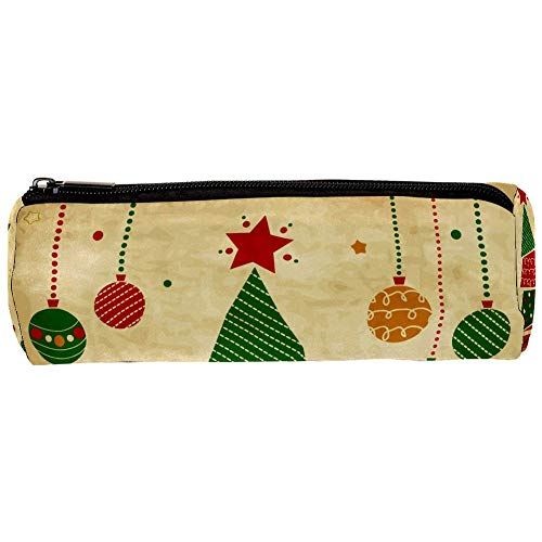 Vintage Christmas Tree and Ornaments Pencil Bag Pen Case Stationary Case Pencil Pouch Desk Organizer Makeup Cosmetic Bag for School Office