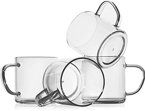 Glass Coffee Mugs Set of 4 14 oz Clear Borosilicate Glass Coffee Cups Lead Free Drinking Glasses product image