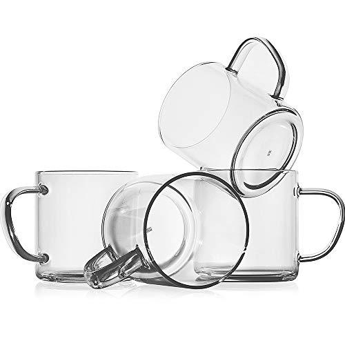 Tazas de café de cristal (juego de 4), tazas de café de vidrio borosilicato transparente de 14 onzas, vasos de beber sin plomo, tazas de té grandes con mango cómodo, tazas de...