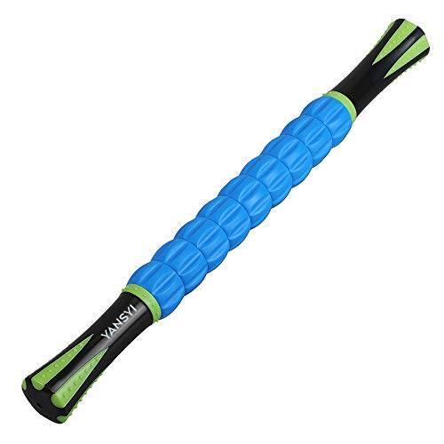 YANSYI Muscle Roller Stick for Athletes - Body Massage Roller Stick - Release Myofascial Trigger Points Reduce Muscle Soreness Tightness Leg Cramps & Back Pain for Physical Therapy & Recovery (Blue)