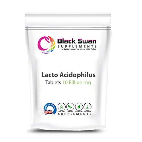 Black Swan Lacto Acidophilus 10 Billion Tablets Supplement – with Anti-inflammatory Properties – Support Healthy Stomach – Cholesterol Level – Weight Loss – Digestive Health (60 Tabs)