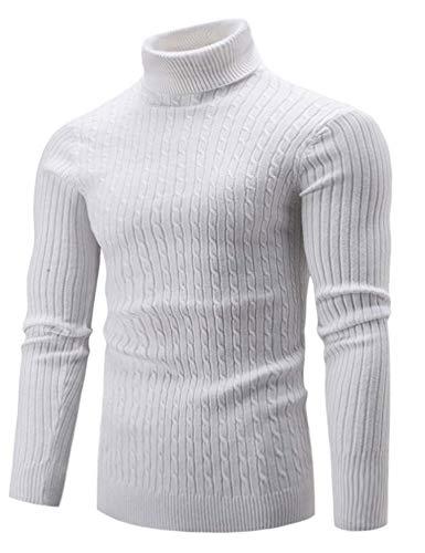 Luckymen Men's Slim Fit Turtleneck Sweater,Knitted Sweatshirt Pullover Tops (White, XXL)