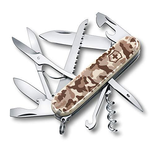 Couteau de poche Victorinox Huntsman (15 fonctions, décapsuleur, scie à bois, poinçon, tire-bouchon) camouflé Désert