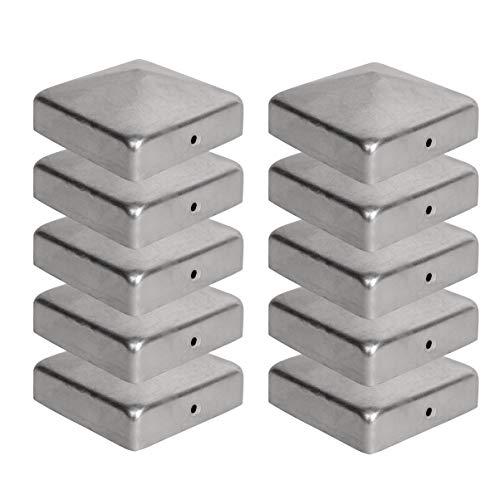 10 Copripali 7x7 cm per Pali Staccionate - Copripali per Pali in Legno a Forma Piramidale - Tappi di Copertura in Acciaio Zincato Viirkuja