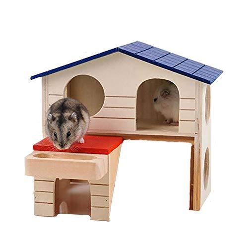 Casa De Hámster Casa De Madera Escondite De Hámster Juguetes De Hámster Hamster Casa De Madera Grande De Dos Pisos Casa De Color para Mascotas Pequeñas Nido De Madera