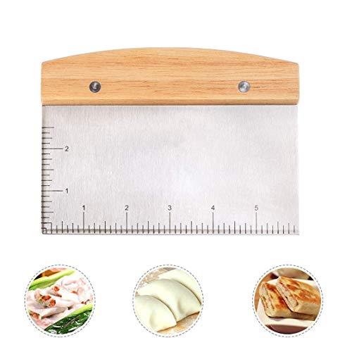 Raspador de masa de acero inoxidable, cortador de masa de pastelería multipropósito raspador de plancha con mango de madera y escala de medición para hornear
