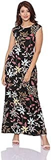 Andiamo Fashion Floral-Pattern Round-Neck Cap Sleeves Straight-Cut Maxi Dress for Women M