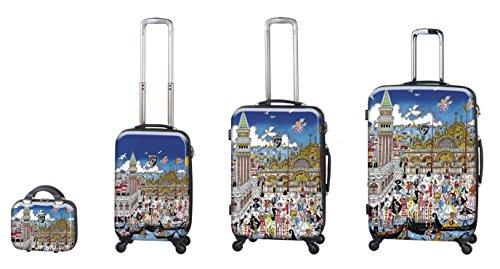 Equipaje, Maletas y Bolsas de Viaje - Premium Designer Maleta Rígida Set 4 Piezas - Heys Artista Fazzino Venezia Equipaje de Mano+Trolley con 4 Ruedas Media+Trolley con 4 Ruedas Grande + Beauty Case