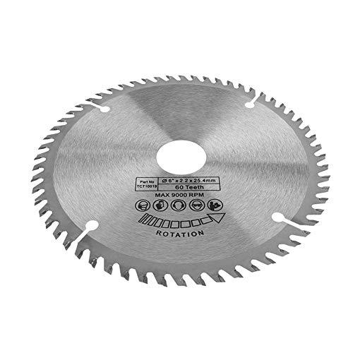 Disco de corte circular de 60 dientes de metal duro para acero, aluminio, madera y plástico (plata)