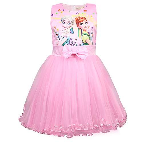 Meisjes Jurken Vest Jurk Mouwloos A-lijn Sundress 3-8Y Blue Rose Pink