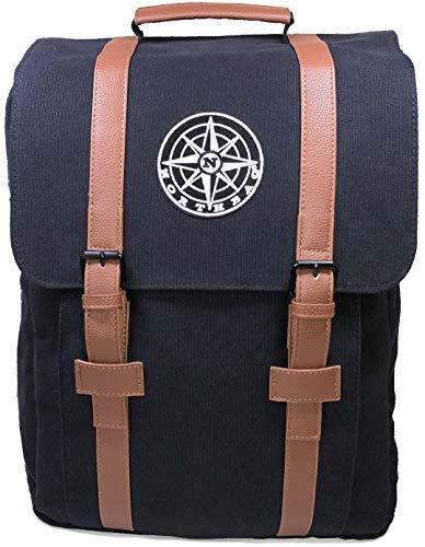 NORTHBAG Rucksack mit Laptopfach I Uni Rucksack I Daypack I Canvas Rucksack I Komfortabel, Elegant, Groß, Platz für A4 Ordner und 15,6 Zoll Laptop I Schwarz