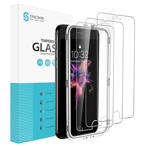 Syncwire 3-Pezzi Pellicola Protettiva in Vetro Temperato per iPhone 8  7  6s  6, Vetrino per iPhone con cstrumento di installazione facile [alta trasparenza, assenza di bolle, anti-impronta digitale]