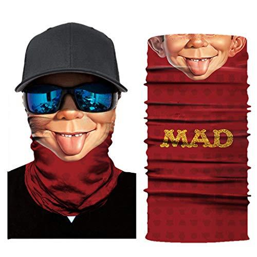 Madmoon Multifunktionstuch Herren & Damen - Atmungsaktiv & Schnelltrocknend - Wind Face Shield - Motorrad Gesicht Mundschutz Lustig Skull Chopper Mund-Tuch Halsschlauch Halstuch mit Motiv (L)