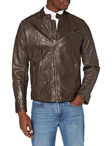 Pepe Jeans FOSSEE Chaqueta de cuero, Gris (Grey 945), Large para Hombre