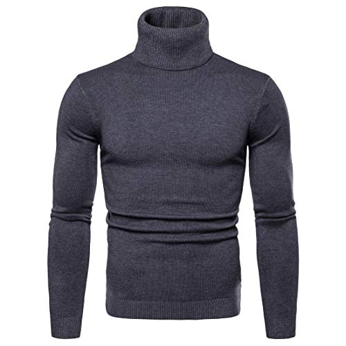 LEOCLOTHO Heren Roll Neck Sweater Gebreid Slim Fit Coltrui Jumpers Lange Mouw Casual Tops