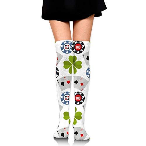 GYHJH Hohe Socken Spielkarten Sportsocken Oberschenkel Hohe Socken