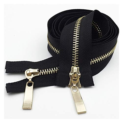 TFGUOqun Simple and stylish 1pc 80/100/120cm Auto Lock Metal Zipper Gold Double-slider Zippers for Jackets Coat DIY Bag Clothing Sewing Accessories for Sewing (Color : Blackgold, Length : 100cm)