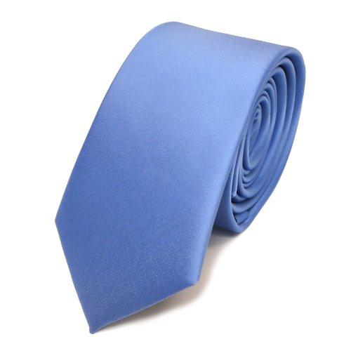 TigerTie schmale Satin Krawatte in blau hellblau babyblau einfarbig uni