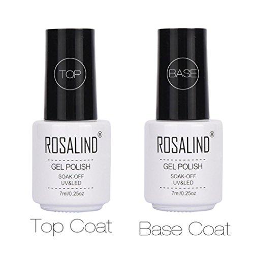 Coolster 2PCs Maniküre Farblack Nagellack Top Coat + Base Coat Abdeckung Langlebig UV Nail Gel (Weiß)